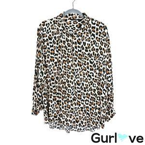 ZARA Woman XL Animal Print 3/4 Sleeve Button Top